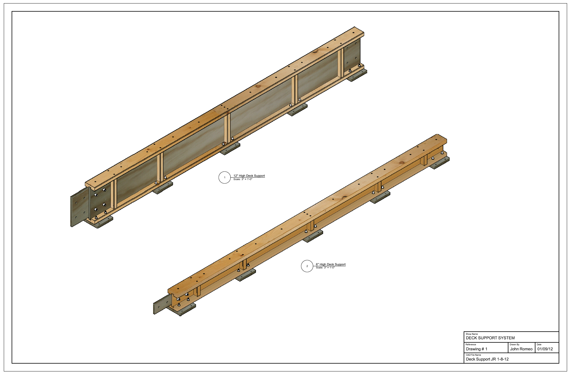 deck support beams  u2013 romeo drafting services